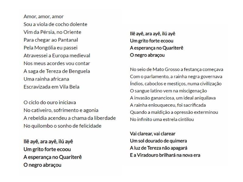 A imagem mostra a letra do samba enredo da Unidos de Viradouro de 1994, em homenagem à Tereza de Banguela. Disponível em: http://www.galeriadosamba.com.br/escolas-de-samba/unidos-do-viradouro/1994/