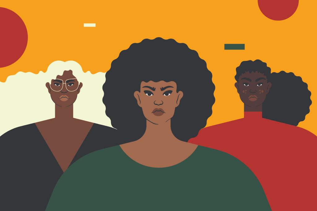 A imagem é uma ilustração que mostram 3 desenhos de mulheres negras.
