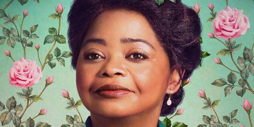 A imagem é uma foto da personagem da Madame CJ Walker, personagem representada pela atriz Octavia Spencer na série Self Made.